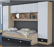Funktionsbett 'Lou' grau/weiß/schwarz, inkl. Bettkasten
