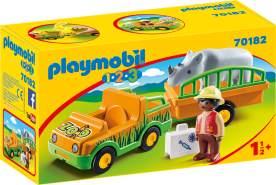Playmobil 1.2.3 70182 'Zoofahrzeug mit Nashorn', 5 Teile, ab 1,5 Jahren