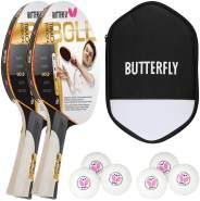 Butterfly 2x Timo Boll Gold 85020 Tischtennisschläger + Tischtennishülle + 6x 40+ 3*** Bälle