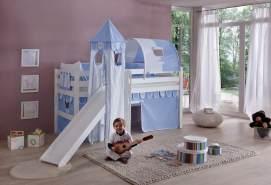 Relita 'Eliyas' Spielbett mit Rutsche und Textilset Vorhang, 1-er Tunnel, Turm und Tasche blau/Boy