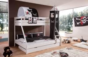 Relita 'MIKE' Etagenbett weiß lackiert, inkl. Bettschublade und Textilset 'Pirat'