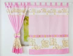 BabyLux 'Teddybären' Vorhängen mit Schlaufen, pink