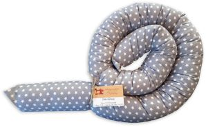 Schlangenmanufaktur Handmade Bettschlange, Grau mit Sternen, 140 cm