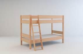 Mobi Furniture 'Erik' Etagenbett inkl. Lattenrost 90x200 Massivholz Buche natur