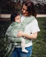 LIMAS Babytrage Halfbuckle | 50 -86 cm | Bauchtrage & Rückentrage & Hüfttrage | ab Geburt bis Kleinkindalter | Baby Carrier | Blossom Green Lily