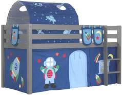 Vipack Spielbett 'Pino' grau mit Textilset Vorhang, Tunnel und 3 Taschen 'Astro'