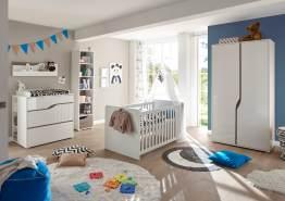 Begabino 'Mara' 5-tlg. Babyzimmer-Set, weiß, aus Bett 70x140 cm, 3-trg. Kleiderschrank, Wickelkommode inkl. Unterstellregal, Standregal und Wandregal