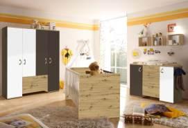 3-tlg. Babyzimmer-Set 'Cordula' weiß / braun