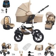 Bebebi Florida | 4 in 1 Kombi Kinderwagen + ISOFIX | Luftreifen | Farbe: Flocream