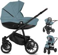 Friedrich Hugo PCS_FH-FLOW-DE-GEL-BTN-09-PIK Minigo Flow, 3 in 1 Kombi Kinderwagen Gelreifen Blue Grey, grau