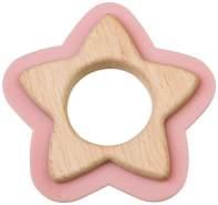 Saro Beißspielzeug Stern Holz und Silikon 10 cm lachsrosa