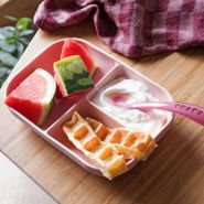Beaba 2-tlg. Baby Mahlzeit-Set Silikon Rosa
