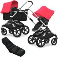 Bugaboo Fox Kinderwagen Neonred / Black mit High Performance Fußsack, inkl. Gestell Alu