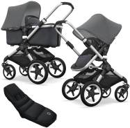 Bugaboo Fox Kinderwagen Grey / Steel Blue mit High Performance Fußsack, inkl. Gestell Alu
