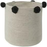 """Lorena Canals Aufbewahrungskorb """"Basket Bubbly Natural Black"""", aus Baumwolle, 30 x 30 x 30 cm"""