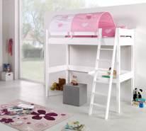 Relita Hochbett RENATE Buche massiv weiß lackiert, mit Schreibtisch und Tunnel, rosa/weiß/herz