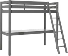 Vipack Hochbett grau, 90 x 200 cm und großer Schreibtischplatte, Ausf. grau lackiert