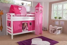 Relita Etagenbett BENI Buche massiv weiß lackiert mit Textilset pink/rosa/herz