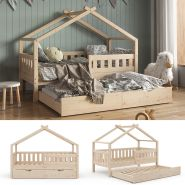VitaliSpa 'Design' Hausbett 80x160 cm, natur, Kiefer massiv, inkl. Lattenrost und Gästebett