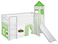 Lilokids 'Jelle' Spielbett 90 x 200 cm, Dinos Grün Beige, Kiefer massiv, mit Turm, Rutsche und Vorhang