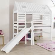 Hochbett Spielbett mit Rutsche & Leiter BERGEN-13 Buche massiv weiß lackiert B x H x T: ca. 210 x 222 x 110 cm