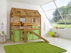 Relita 'Tom´s Hütte' Hochbett inkl. Stoffset 'Grün-Orange'