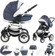 Bebebi Florenz | Luftreifen in Weiß | 2 in 1 Kombi Kinderwagen | Luftreifen | Farbe: Neptun Blue White