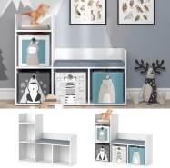 Vicco 'LUIGI' Kinderregal, weiß, mit Sitzbank, Ablage und 4 Fächern für Faltboxen