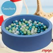 Bio Premium Bällebad SEESTERN in hellblau mit 300 Bällen aus Zuckerrohr