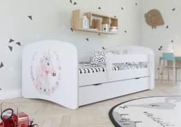 Kinderbett Jugendbett Weiß mit Rausfallschutz Schublade und Lattenrost Kinderbetten für Mädchen und Junge - Einhorn 70 x 140 cm