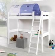 Relita 'RENATE' Multifunktionsbett mit Schreibtisch weiß, Stoffset Blau/Boy mit Matratze