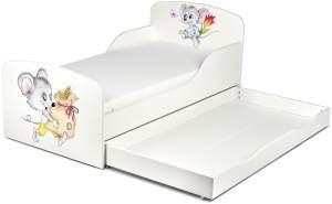 Weiß Einzelbett aus Holz - UV-Druck: Glückliche Mäuse - Kinderbett mit Schubladen und Matratze + Lattenrost (140/70 cm)