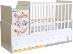 Polini Kids 'Simple 1100' Kombi-Kinderbett 60 x 120/170 cm, weiß, Floral, höhenverstellbar, mit Schaukelfunktion, inkl. Kommode