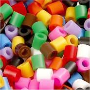 Bügelperlen, Größe 5x5 mm, Lochgröße 2,5 mm, Standard-Farben, Medium, 6000sort.