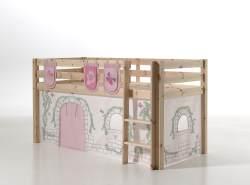 Vipack 'Pino' Spielbett natur mit Vorhang und 3 Taschen 'Birdy'
