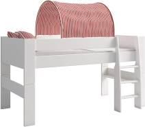 Steens For Kids Tunnelzelt für Kinderbett, Hochbett, 88 x 69 x 91 cm (B/H/T), Baumwolle, rot,weiß