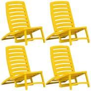 vidaXL Kinder-Strandstühle Klappbar 4 Stk. Gelb Kunststoff