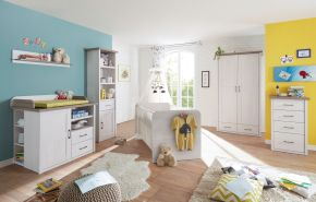 Bega 'Luca' 6-tlg. Babyzimmer-Set, aus Bett 70x140 cm, Wickelkommode inkl. Unterstellregal, 2-trg. Kleiderschrank, Standregal, Kommode und Wandregal