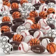 Sportball-Perlen, Größe 11-15 mm, Lochgröße 3-4 mm, sortierte Farben, 270g, ca. 220 Stück