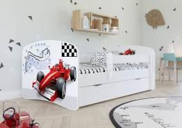 Kinderbett Jugendbett Weiß mit Rausfallschutz Schublade und Lattenrost Kinderbetten für Mädchen und Junge - Formel 80 x 180 cm