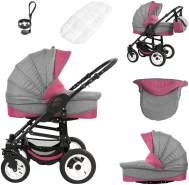 Bebebi Florenz   ISOFIX Basis & Autositz   4 in 1 Kombi Kinderwagen   Hartgummireifen   Farbe: Davanzati Pink Black