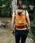 LIMAS Flex Babytrage Fullbuckle | 56 – 104 cm | Bauchtrage & Rückentrage & Onbuhimo | ab 2. -3. Monate bis 3+ Jahre | Baby Carrier | Ocker