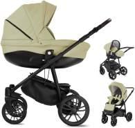 Bebebi Minigo Flow | 3 in 1 Kombi Kinderwagen Luftreifen | Farbe: Beige