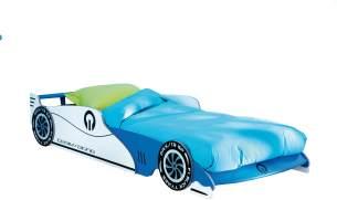 Autobett 'Leon' blau/weiß 90x200