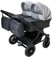 Adbor Duo Lux 3in1 Zwillingskinderwagen mit Babyschalen und 2 Isofix-Stationen Farbe DL-06 grau