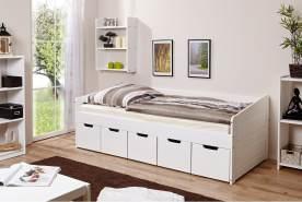 Ticaa 'Micki' Sofabett 90x200 cm, Kiefer massiv weiß, inkl. Schublade 'Maria'