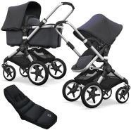 Bugaboo Fox Kinderwagen Steel Blue mit High Performance Fußsac, Gestell Alu