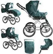 Bebebi Loving   2 in 1 Kombi Kinderwagen   Nostalgie Kinderwagen   Farbe: Green Ardent