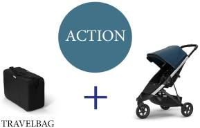 Thule Spring Buggy mit Reisetasche Majolica Blue Aluminium