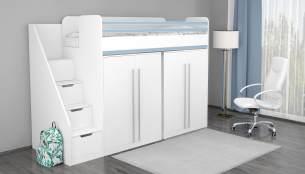 Polini 'City' Hochbett Kombination mit 2 Schränken, weiß-blau
